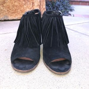 Lucky Brand Chunky Heels Black Suede